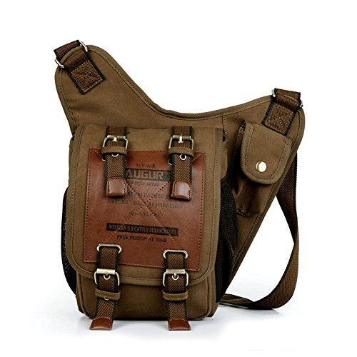 Uomo e borsa sacchetto di spalla propenso studenti Vintage Canvas multifunzione borsa da viaggio sacchetto di svago Retro della tela di canapa delle donne, sacchetto del messaggero dello zaino della s Khaki