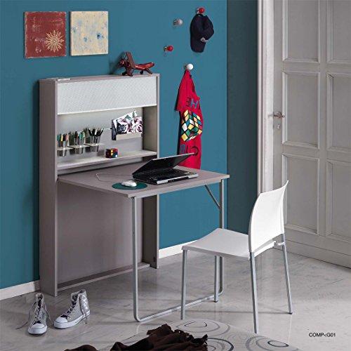 Arredaweb Galileo Table / Console ouvrante, 85 x 18 (84 ouverte) x (H) 140 cm, couleur taupe
