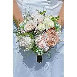 Vintage Artificial peonía y ramo de novia rosa con hojas y bayas (