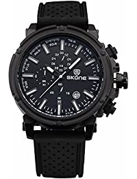 SKONE Fashion Design Mens Watch with Nailed Scale and 3eye Decoration Dial Quartz Date Display (Black)