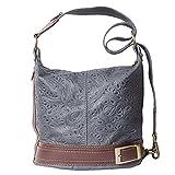 Florence Leather Market WANNE Rucksack Handtasche TRANSFORMIERBARE IN DER WANNE BAG MIT MUSTER 300S (Dentel grau-braun)