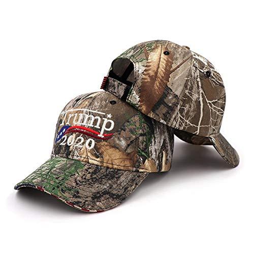 Trump 2020 Präsidentschaftswahl amerikanische Flagge Stickerei Camouflage Outdoor Sonnenschutz Hut für Männer Frauen ()