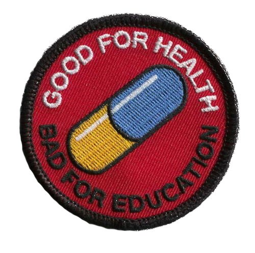 Akira Good For Health Bad For Education pillola Japanese Anime Morale Patch in gomma