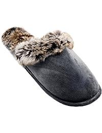 Alxcio Wildleder Hausschuhe Hüttenschuhe Unisex Slipper Herren Damen Schuhe  Warm Gefuettert Pantoffeln für Mädchen ... b10736562d