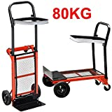 Popamazing New Durable Heavy-duty Industrial Aluminium Lightweight Folding Barrow Telescopic Sack Truck Trolley Hand Cart (Size B)