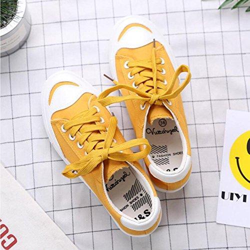 Chaussures plates décontractées pour dames / femmes souples chaussures à lacets en toile de mode pour le printemps et l'été trois couleurs pour choisir Yellow