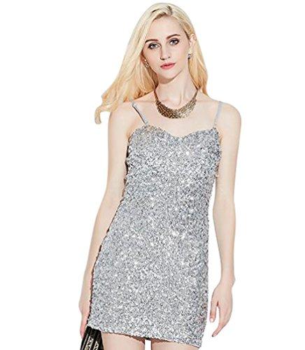 NiSeng Damen Ärmellos Trägerkleid Schlank Stretch Mit Pailletten Cocktailkleid Bodycon Minipartei-Kleid Silber
