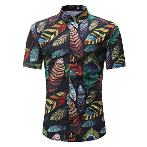 Malloom®® Man Fashion Floral Printed Bluse beiläufige Kurze Hülsen-dünne Hemd-70er Jahre Hemd Bubbles Herren Regulär Geschnittenes Kurzarm-Hawaii-Hemd (L, schwarz) -