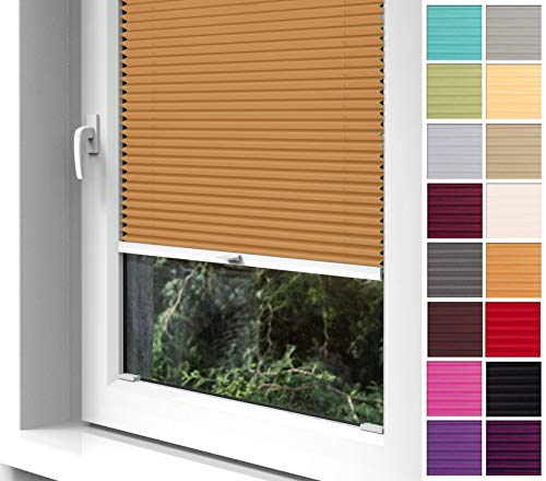 Home-Vision Premium Plissee zum Anschrauben in der Glasleiste Innenrahmen (Orange, B80cm x H120cm) Blickdicht Plissee Jalousie mit Halterungen zum Bohren, Sonnenschutzrollo Rollo