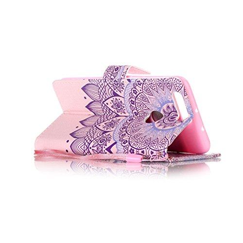 Feeltech HUAWEI Honor 8 Hülle,HUAWEI Honor 8 Magnet Leder Wallet Cover,Elegant Soft PU Kartenfach Extra Dünn Tasche Bunte Relife-Muster [Stand Funktion] Karte Halterung Klapp hülle Flip Book Design Ca Stammes Mandala