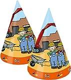 8 Partyhütchen * BAUSTELLE * für Mottoparty und Kindergeburtstag von TIB // Kinder Geburtstag Party Fete Set Jungen Verkleidung Hütchen Bauarbeiter Baumeister