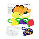 Amteker Baby Teething Toy - Baby Fruit Teether, Baby Toothbrush and Pacifier Clip for 3 to 12 Months Baby, Infant, Newborn