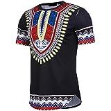 Longra T-Shirt Herren Kurzarm Shirt Slim Fit T-Shirt Bohemia Printed Muscle T-Shirt Casual Tops Bluse Unisex Dashiki - Traditionelles Oberteil Männer Afrikanischen Hippie - Vintage Hemd (M, Black)