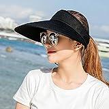 Dixinla Visière Les grands avant-toits anti-UV Dame chapeau haut de forme pliée vide extérieur pare-soleil