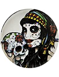 Morella unisex click-botón Gypsy vidrio calavera