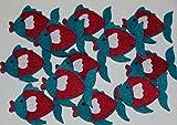 12 x trendy Filz Fische Dekorationssticker Aufkleber 5x4 cm tolle Aufkleber Maritime Dekorations Sticker 5449