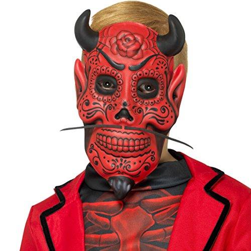 Teufel Maske Tag der Toten Halloweenmaske Satan Skull Maske Dia de los Muertos Kindermaske Dämonenmaske Halloween Teufelsmaske für - Toten Skull Der Maske Den Tag