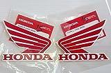 BRAND NEU 100% GENUINE ORIGINAL Honda Flügel Kraftstoff Tank Benzin Tank Sticker Aufkleber 2 x 90mm ROT / Weiß Links & Rechts
