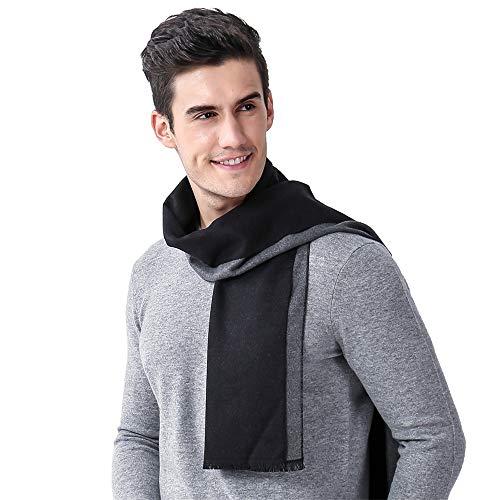 Belingeya Wrap-Schals für Herren Herren Herbst und Winter Business Casual Zwei-Farben-Schal mit warmen Schal Gestrickte weiche thermische Schal Bekleidungszubehör ()