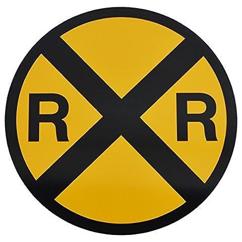Yellow Metal Caution Railroad Crossing Road Street Sign Warning Train RR XING