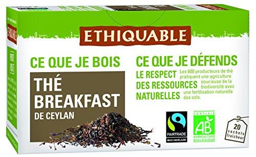 Ethiquable - ETHIQUABLE - Thé Noir Breakfast de Ceylan bio & équitable 36 g (20 sachets) - Thé Noir du Matin
