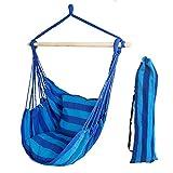Hängesessel Vanfree Hängestuhl Hängematte Hängesitz mit 2 Kissen,Baumwollgewebe, bis 120kg, Farbe Blau
