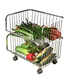 Küchenwagen Obst- und Gemüse-Aufbewahrungskorb aus Edelstahl, Stehbarer mehrlagiger Tissue-Aufbewahrungsständer (größe : 2)