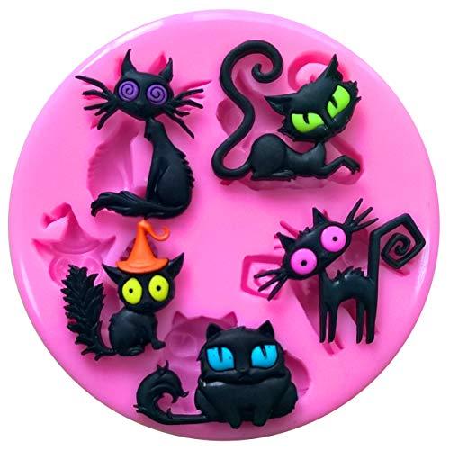 Fairie Blessings Silikon-Form für Kuchen und Cupcakes, Halloween, Hexen, schwarze Katzen, vertraute Katzen, Kuchendekoration, Kuchen, Cupcakes, Zuckerguss, Werkzeug (Schwarze Katze Cupcakes Halloween)