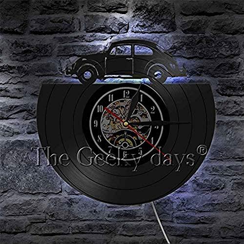Oldtimer Fahren Schallplatte LP Wanduhr Wohnkultur Modernes Design Led-Lampe Licht Retro Autos Wanduhr Uhr für GiftB