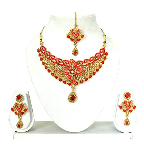 Vipin Store Golden & Red Color Stone & Kundan Gold Plated Jewelery Set - B078Y29J8G