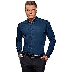 oodji Ultra Hombre Camisa Estampada con Cuello Doble, Azul, 43cm / ES 54 / L