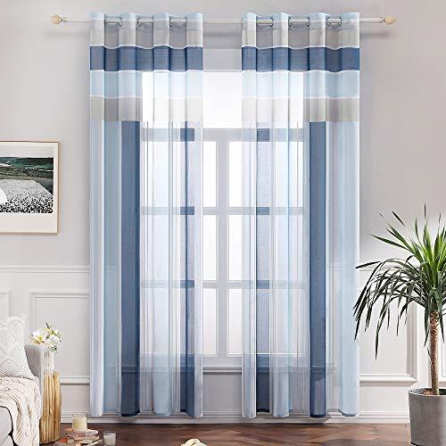 Miulee voile tenda finestra con occhielli a pannello tende trasparenti righe per soggiorno e camera da letto 2 pannelli 140 x 260 cm blu celeste