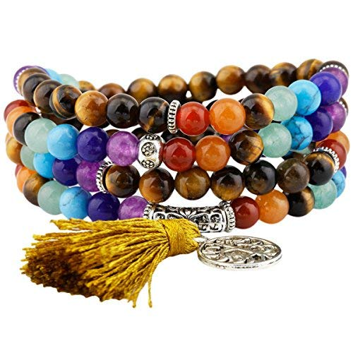 Shanxing 108 Perlen Edelstein Yoga Armband Schmuck Buddha Buddhistische Tibetische Gebetskette Mala Kette Halskette,7 Chakra & Tigerauge