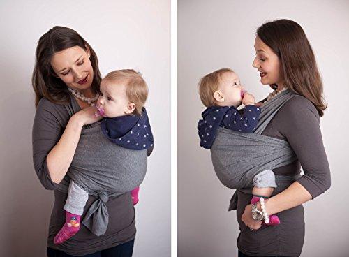 4-in-1 CuddleBug Baby Wrap Carrier | Soft Baby Carrier | Baby Sling Carrier | Postpartum Belt | Nursing Cover | Best Baby Shower Gift (Grey)