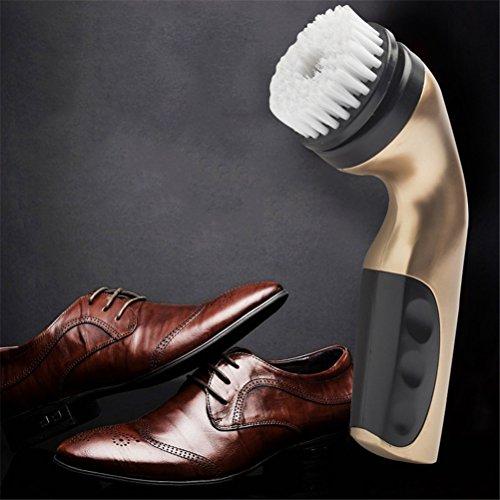GFYWZ Schuhputzmaschine, Handleather Shoes Shine Pinsel mit Schwamm Pad, Pinsel, Shine Kit Für Lederreinigung, Ölen, Polieren,Gold