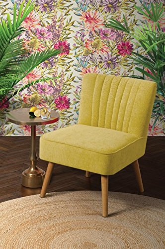 Vintage Scandinavian Chair Retro Lounge Furniture Accent Bedroom Velvet Fabric Modern Office Shop Cocktail Seat Occasional Funky Contemporary Living Room Upholstered Sofa Armchair Reception Tub Style (Mustard Yellow)