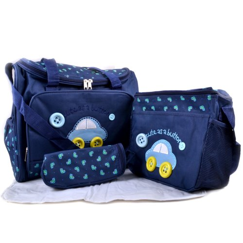 Preisvergleich Produktbild 4tlg Babytasche Set Pflegetasche Tragetasche Wickeltasche Windeltasche Kinder Baby Blau