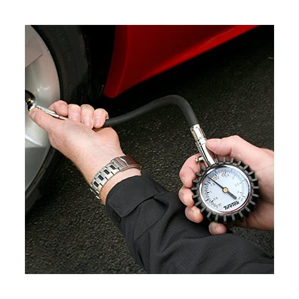 TireTek Flexi-Pro – Manómetro de presión de neumáticos, resistente, para coche y moto, 60 psi