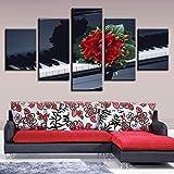 QLIYT Poster Wandkunst Dekor Hause Zimmer 5 Stücke Rote Blumen Schwarz Und Weiß Klaviertaste Malerei Hd Gedruckt Modulare Leinwandbilder