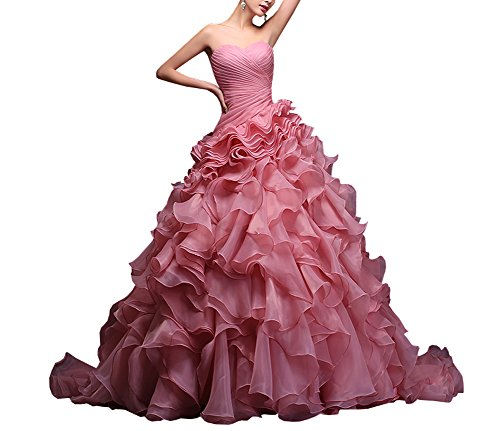 BRLMALL Women's Sweetheart Ruched Multi-Tier Ruffles Sweep Train Prom Dresses