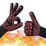 XJZxX Grillhandschuhe Hitzebeständig, Ofenhandschuhe Mit Den Fingern, Heave Duty Silikon-Ofenhandschuhe Für Grillen, Kochen,
