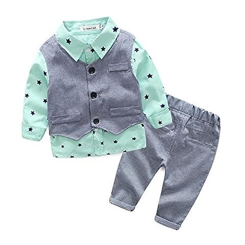 Fanryn 3pcs Enfants Bébé garçon Ensembles Chemise à manches longues Costumes costume + Grise gilet + Pantalons de 0-24 Mois