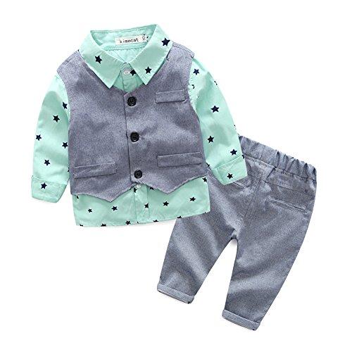 Preisvergleich Produktbild BONROY Baby Jungen Anzug Gentleman Bekleidungsset Baumwolle Babyanzug Langarm Hemden+Weste+Lange Hose Outfits (95)