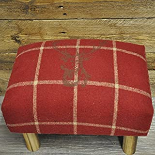 Deer Stags Head Red Check Tartan Tweed Fabric Covered Footstool