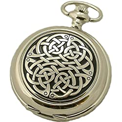 A E Williams Neverending knot mens mechanical pocket watch with chain