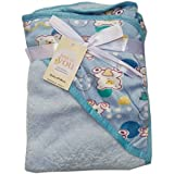 N&M Double Layer Velvet Fleece Newborn Printed Baby Blanket With Hood (SkyBlue Teddy)
