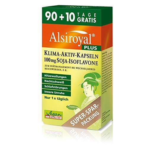 Alsiroyal PLUS Klima-Aktiv Kapseln, 90+10 Stück - Wechseljahre / Menopause | Mit Soja-Isoflavonen, Vitaminen, Mineralstoffen und Lecithin | Vegan | Glutenfrei | Lactosefrei -