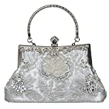 Ecosusi Vintage Seed Beaded Rose Wedding Bag Party Clutch Prom Evening Handbag (silver)