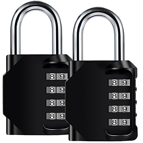 Diyife 2 Pack 4-Stelliges Zahlenschloss, Kombinationsschloss, Vorhängeschloss, Wetterfestes Metall & Plated Steel Combination Lock für Schule, Gym & Sports Locker, Hasp Cabinet & Storage