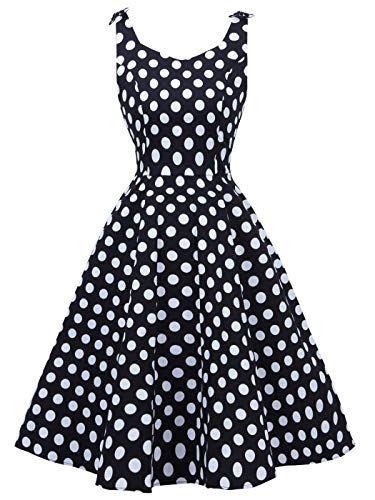 Juniors 50s Vintage V-Neck Rockabilly U-Back Swing Party Dress with Bows on Shoulder(M, Black White Dots)